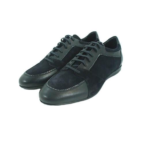 Cabrini Shoes Lace up Black Suede Front