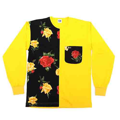 DMD LS Half Regular Plain Navy Roses with Yellow dmd muracchini - DMD L/S Half Regular Plain Navy Roses with Yellow DMD Muracchini