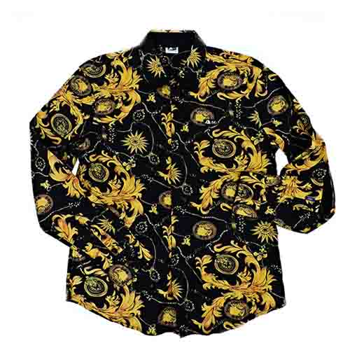 DMD Muracchini Linea Italiana South Africa dmd mens ls printed shirt black and yellow - DMD Mens LS Silk Printed Shirt   Black Yellow - DMD Mens LS Printed Shirt Black and Yellow