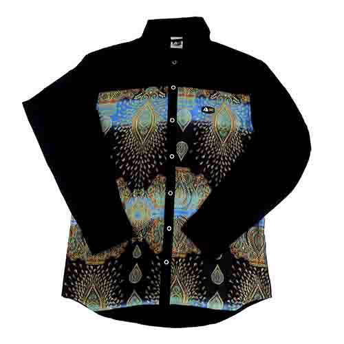 DMD Muracchini Linea Italiana South Africa dmd mens ls slimfit peacock print shirt black - DMD Mens LS Slimfit Peacock Print Shirt  Black - DMD Mens LS Slimfit Peacock Print Shirt Black