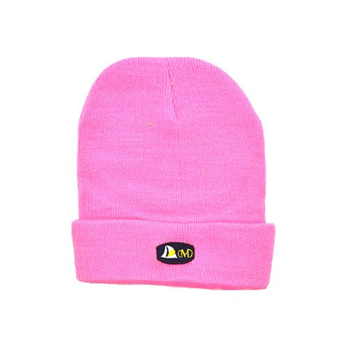 DMDB001PK DMD Beanie Pink Plain with Badge