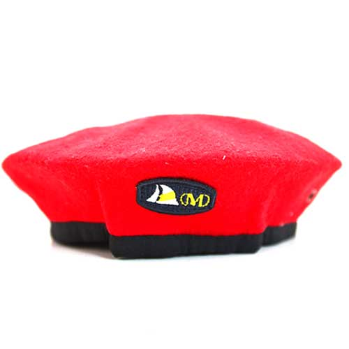 DMD Muracchini Beret With Badge Red Front dmd beret - DMD Beret With Badge Red Front