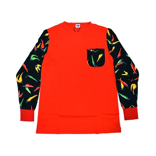 DMD Muracchini Linea Italiana South Africa dmd long sleeve shirt half print chili black and red - DMD Long Sleeve Shirt Half Print Chili Black and Red