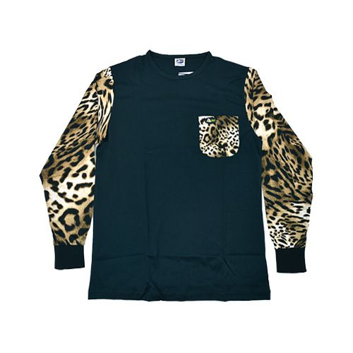 DMDTS03NOLB DMD Long Sleeve Shirt Half Leopard Print Black dmd long sleeve shirt half leopard print black - DMD Long Sleeve Shirt Half Leopard Print Black