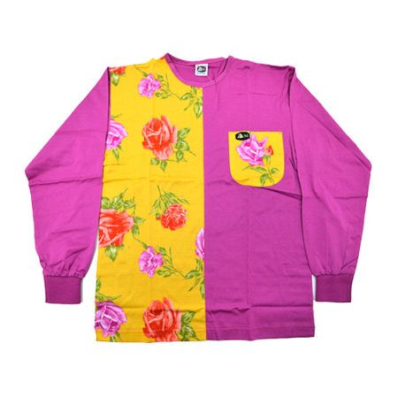 DMDTS03YRP Half Regular Rose Print Half Plain Pink and Sleeve Shirt e1523007191313 dmd long sleeve pink half rose print shirt - DMD Long Sleeve Pink Half Rose Print Shirt