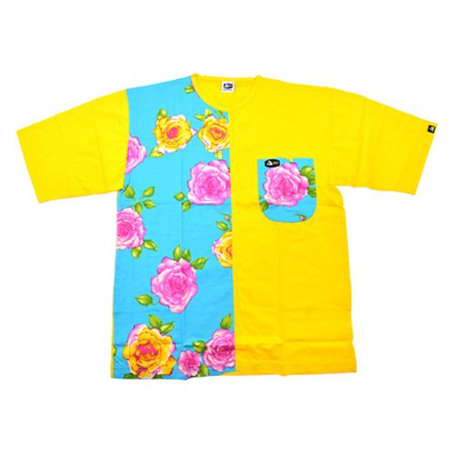 DMD Muracchini Linea Italiana South Africa half regular yellow and turquoise rose print tshirt - DMDTS07R Half Regular Rose Print Half Plain Yellow and Turquoise Tshirt - Half Regular Yellow and Turquoise Rose Print Tshirt
