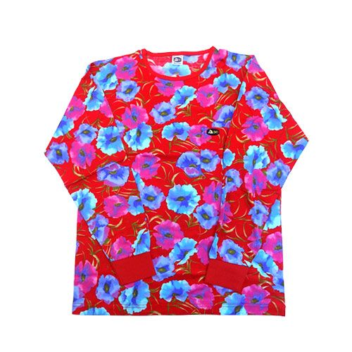 DMDTS08 Full Reguar Tshirt Blue and Red Floral full regular long sleeve shirt red and blue print floral - Full Regular Long Sleeve shirt Red and Blue Print Floral