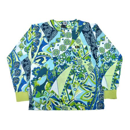 DMDTS08AF Full Regular Blue Abstract Flowers Shirt e1523005972733 dmd t-shirt - DMD T-Shirt Abstract Flowers Print Blue