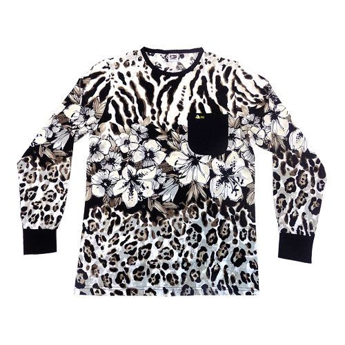 DMDTS08BFL DMD Shirt Long Sleeve leopard Flower Print Black e1528797960820 dmd t-shirt - DMD T-Shirt Leopard Flower Print Black