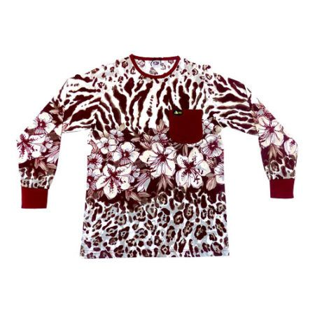 dmd shirt leopard flower print burgundy - DMD Shirt Leopard Flower Print Burgundy