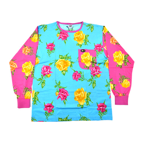 DMD Muracchini Linea Italiana South Africa full pink and turquoise crazy roses print shirt - DMDTS08CRTP Full Crazy Roses Turquoise Floral Print Shirt - Full Pink and Turquoise Crazy Roses Print Shirt