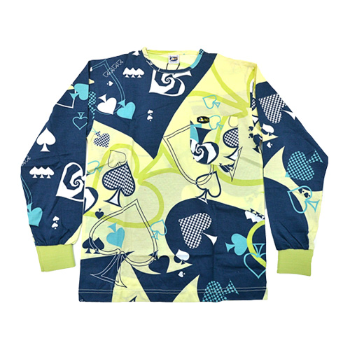 DMD Muracchini Linea Italiana South Africa full card print lime and blue shirt - DMDTS08LCA Full Regular Lime Card Shirt - Full Card Print Lime and Blue Shirt