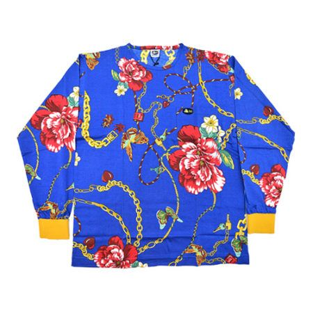 DMDTS08LK Full Regular Chains and Floral Print Shirt e1523006204819 blue lock and key floral print shirt - Blue Lock and Key Floral Print Shirt
