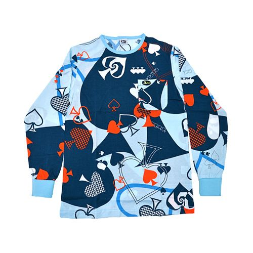 DMDTS08NCA DMD Long Sleeve Shirt Navy Card Print dmd t-shirt - DMD T-Shirt Navy Card Print