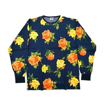 DMDTS08NR Full Regular Navy Rose Shirt e1523006201618 dmd shirt roses print navy - DMD Shirt Roses Print Navy
