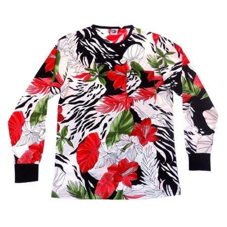 dmd shirt red green tropical print - DMD Shirt Red Green Tropical Print