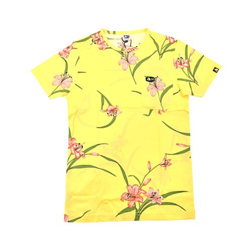 DMD Muracchini Linea Italiana South Africa dmd t-shirt with a light yellow lilly print - DMDTS14YLI Full Regular Yellow Lilly Print Tshirt - DMD T-shirt with a Light Yellow Lilly Print