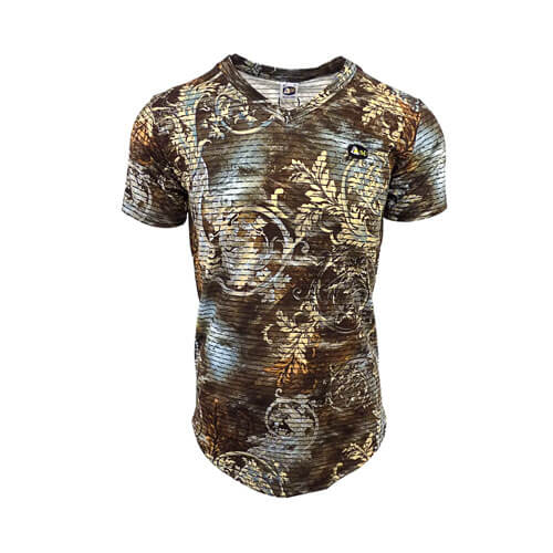 DMD Muracchini T-shirt V-Neck Brown Printed dmd t-shirt - DMD T-shirt V-Neck Brown Printed