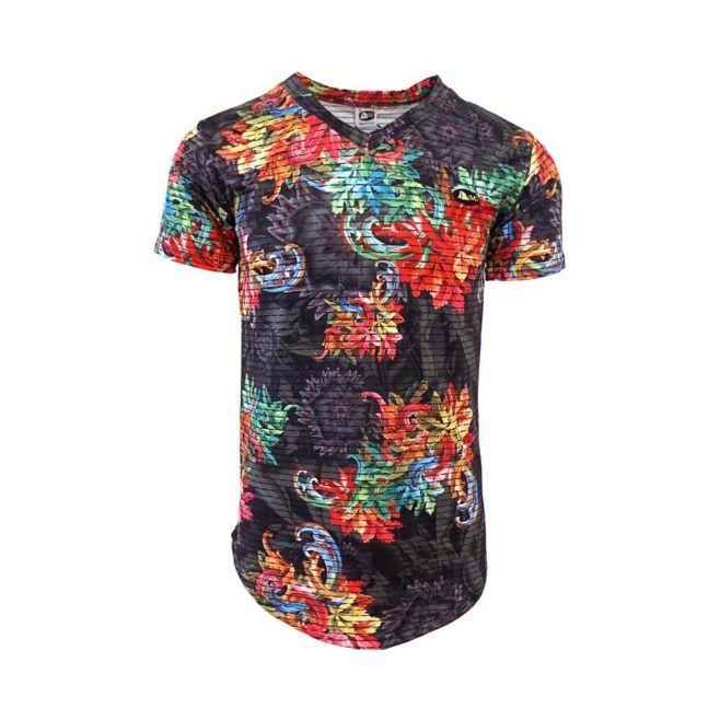 DMD Muracchini T-Shirt V Neck Floral Print Multi dmd t-shirt - DMD T-Shirt V Neck Floral Print Multi