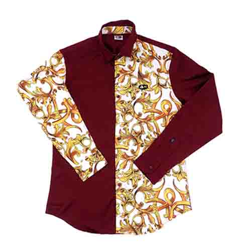 DMD Muracchini Linea Italiana South Africa dmd mens ls half regular half printed shirt burgundy - Mens LS Half Reg Half Printed Shirt  Burgundy - DMD Mens LS Half Regular Half Printed Shirt Burgundy