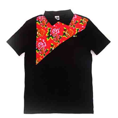 DMD Muracchini Linea Italiana South Africa dmd mens ss golfer black flower - DMD Mens SS Golfer Black Flower