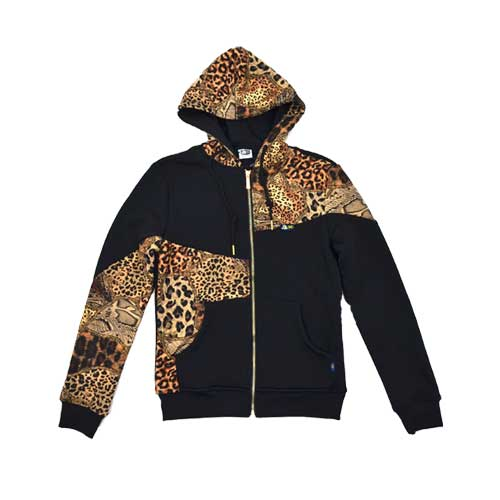 DMD Muracchini Linea Italiana South Africa long sleeve zip through jacket leopard and black - Long Sleeve Zip Through Jacket Leopard and Black DMD Muracchini