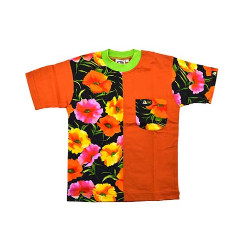DMD Muracchini Linea Italiana South Africa kids short sleeve tshirt flower print orange and black - DMDKTS02 Kids Short Sleeve Tshirt Flower Print Orange and Black - Kids Short Sleeve Tshirt Flower Print Orange and Black DMD Muracchini