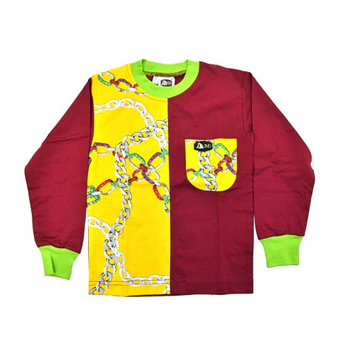 DMD Muracchini Linea Italiana South Africa kids long sleeve tshirt chain print burgundy and yellow - Kids Long Sleeve Tshirt Chain Print Burgundy and Yellow DMD Muracchini