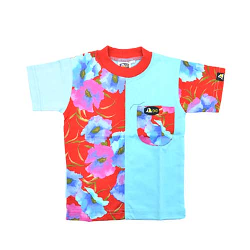DMD Muracchini Linea Italiana South Africa kids short sleeve tshirt flower print blue and red - Kids Short sleeve Tshirt flower print blue and red DMD Muracchini