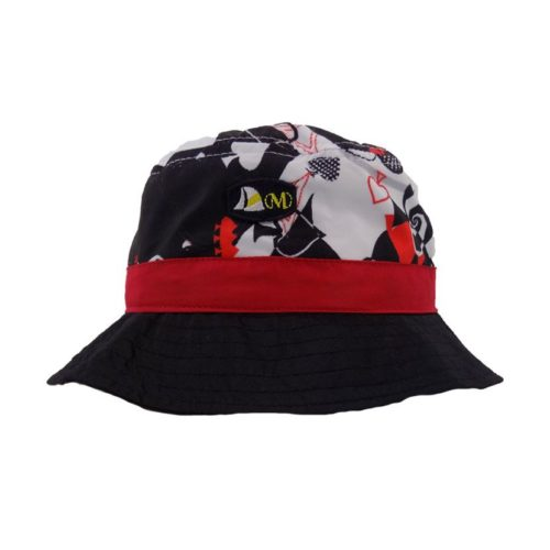 MENS PRINT PLAIN NYLON BLACK ACES BUCKET HAT