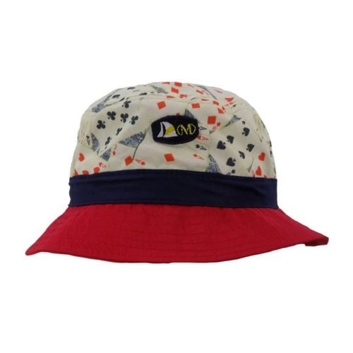 MENS PRINT PLAIN NYLON CREAM CARDS BUCKET HAT