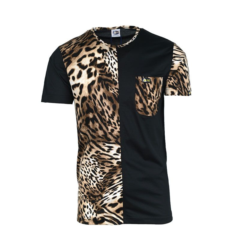 MENS SS T SHIRT PRINTED LEOPARD BLACK