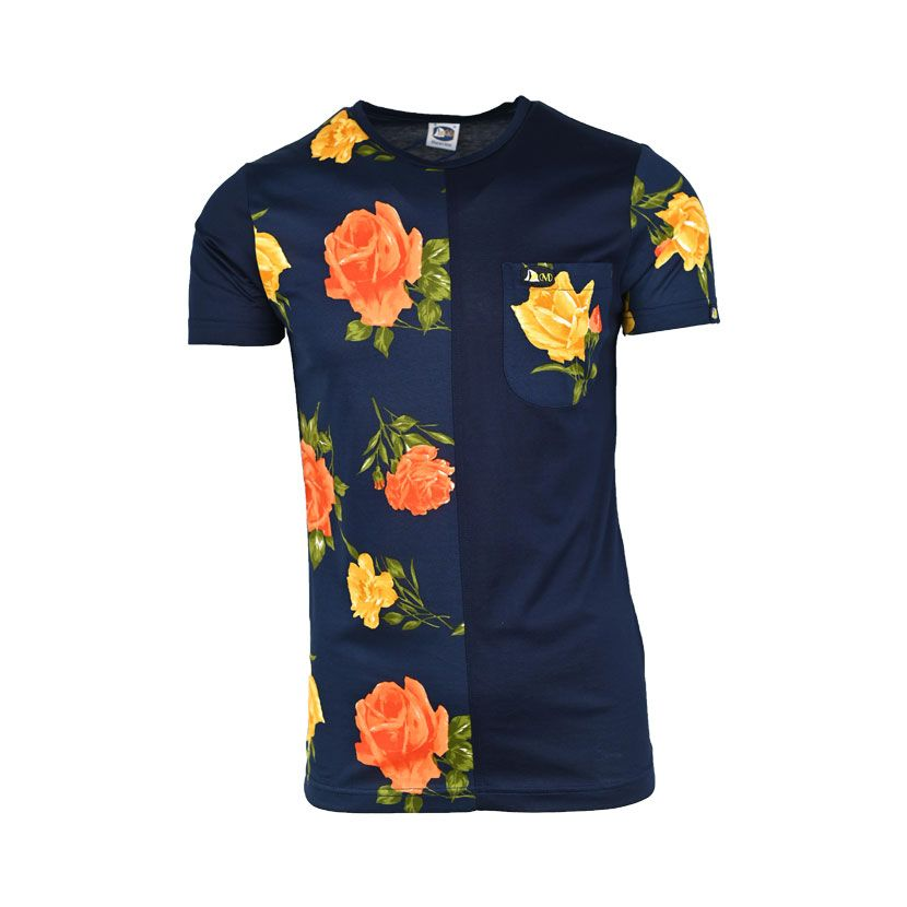 MENS SS T SHIRT PRINTED POCKET NAVY ROSES