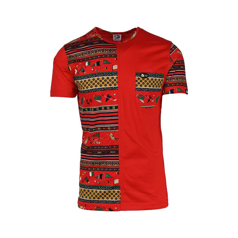 MENS SS T SHIRT PRINTED RED GOLFINO