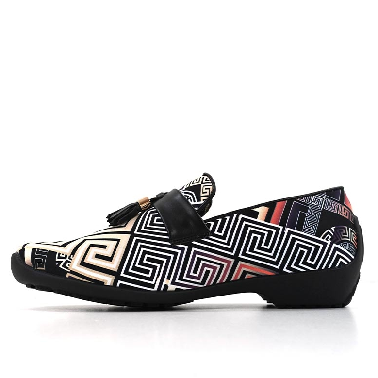 DMD Printed Slip On Plain Vamp Beige Black V