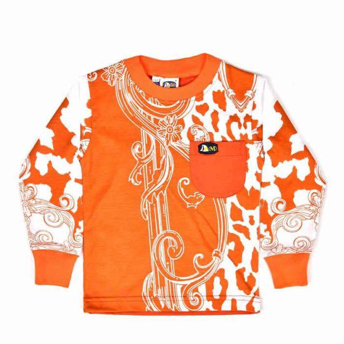 DMDKTS43AS DMD Plain Black T Shirt Orange V1