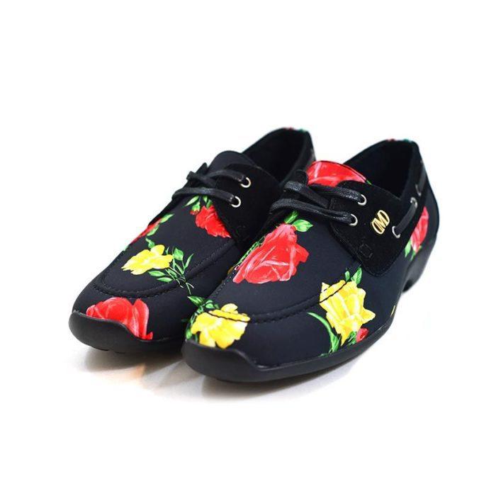 DMDD14BR070 DMD Printed Shoe Suede Black Roses V3