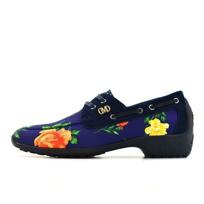 DMDD14NR070 DMD Printed Shoe Suede Navy Roses V1