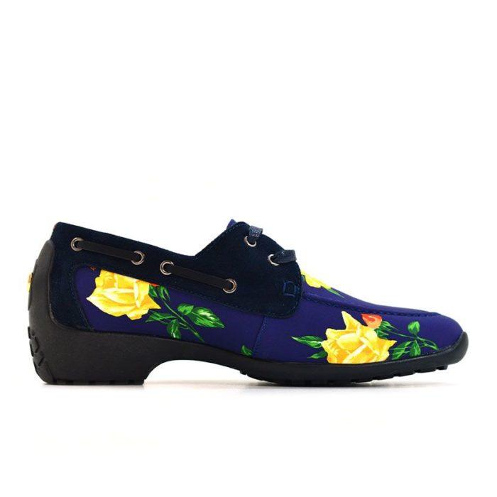DMDD14NR070 DMD Printed Shoe Suede Navy Roses V2