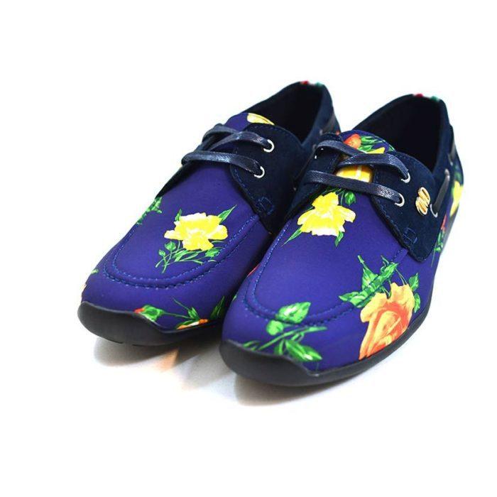 DMDD14NR070 DMD Printed Shoe Suede Navy Roses V3